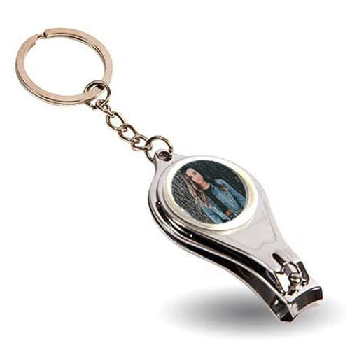 Round Personalised Metal Bottle Opener Keyring, 25mm Photo Added