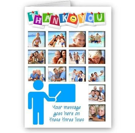 Thank You Teacher, Mr, Sir, Personalised 14 Photos A5 Occasion Card