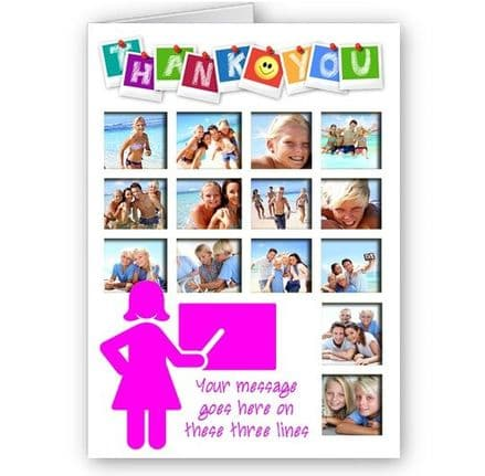 Thank You Teacher, Mrs, Miss Personalised 14 Photos A5 Occasion Card