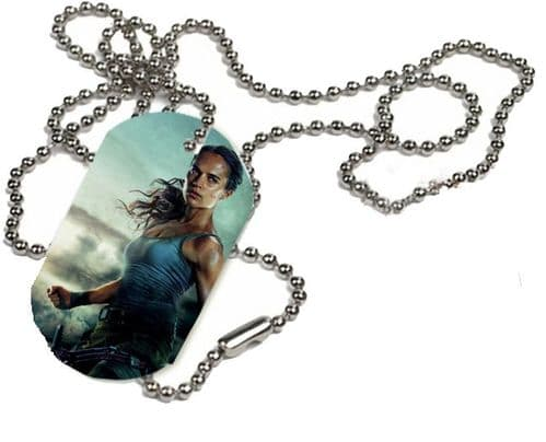 Tomb Raider 2018 Lara Croft, 1 x ID Dog Tag With Bead Necklace, ONE SIDE ONLY