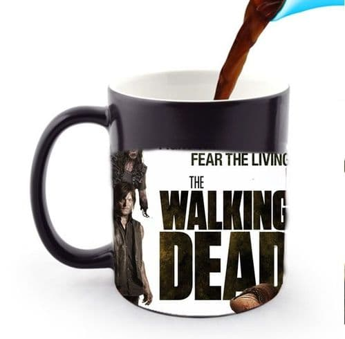 TWD Walking Dead, Fight The Dead, Fear The Living 11oz Heat and Reveal Magic Large Handle Mug