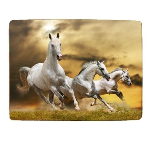 """White Horses 8"""" x 11"""" Toughened Glass Chopping Board, 4mm Thick"""