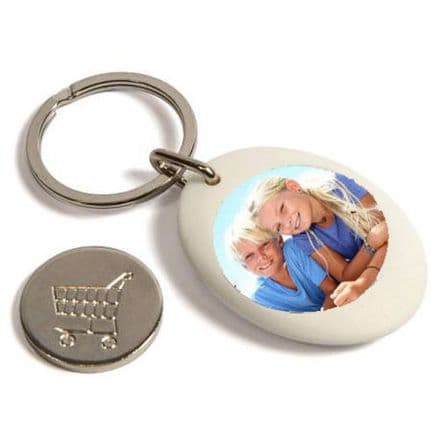 White Plastic Personalised Keyring, Shopping Trolley Pound Coin - 25mm