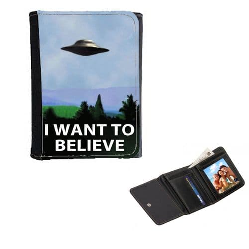 X-Files I Want To Believe Poster Theme Mens, Ladies, Girls Wallet or Purse 12cm x 9cm
