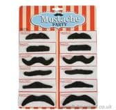 12 Black Stick on Fancy Dress Party Moustaches