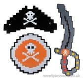 Child's Foam Pixel Pirate Outfit - Sword, Shield & Hat