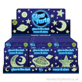 Glow in the Dark Moon and Stars Galaxy Decorations - Pack of 24