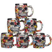 Graffiti Skull Mugs 6 Assorted Resin Designs 15 x 11cm