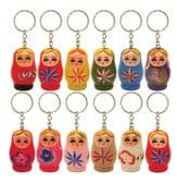 Mini Russian Doll Wooden Painted Keyring - 4cm