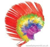 Mulicoloured Rainbow Mohawk Fancy Dress Party Wig