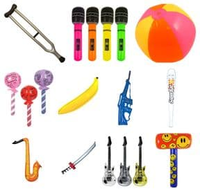 Bulk Buy 100 Piece Inflatable Toy Assortment (50cm - 110cm) | Wholesale Novelties UK