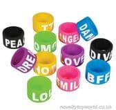 Novelty Rubber Stretch Text Slang Rings - Bulk Novelties