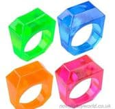 Square Coloured Novelty Rings - Wholesale Novelty Rings