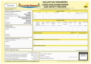 Landlord / Homeowner Gas Safety Record (Personalised) Pad 2