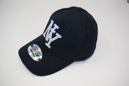 DT3-A-C6956-'NY' Navy Snapback cap made of 100% polyester, one size fits all adjustable