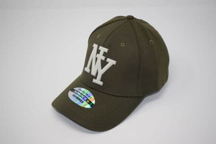 DT3-A-C6956-'NY' Olive Snapback cap made of 100% polyester, one size fits all adjustable