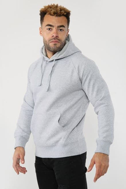 Hooded Sweatshirt Fleece Top Plain Hoody Jumper Pullover Hoodie Gym Casual