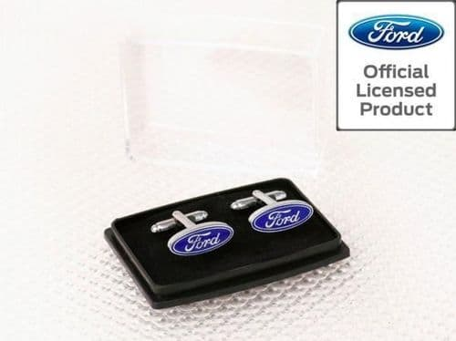 Ford Cufflinks Chrome With Blue Logo