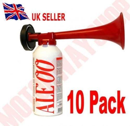 Hand Held Air Horn with Gas Cannister 10 Pack