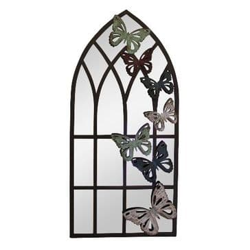 Arched Garden  Mirror With Butterflies