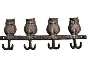 Cast Iron Owls Double Wall Coat Hooks