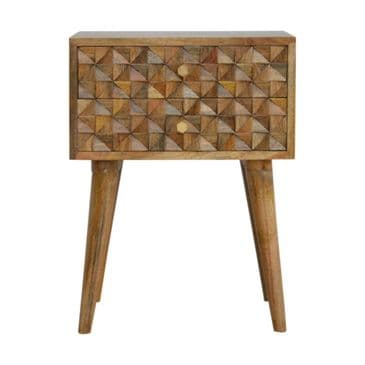 Diamond Carved Solid Wood Bedside Table
