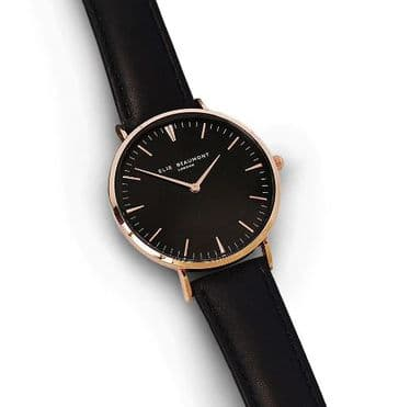 Ellie Beaumont Personalised Black Leather Watch