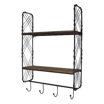 Industrial Style  Wall Shelving Unit With Hooks