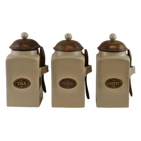 Large Ceramic Tea Coffee Sugar Canisters With Wooden Spoons
