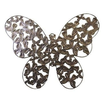 Large Silver Metal Butterfly Wall Decor