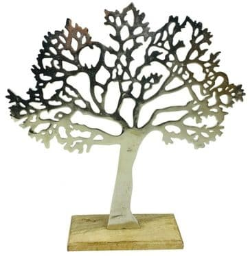 Large  Silver Tree Of Life  Sculpture Ornament Solid Mango Wood