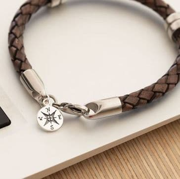 Leather Wristband With Sterling Silver Compass Pendant