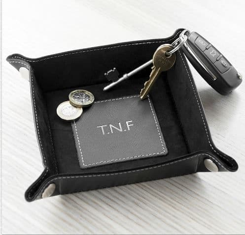 Men's Personalised Luxury PU Leather Coin Tray Black