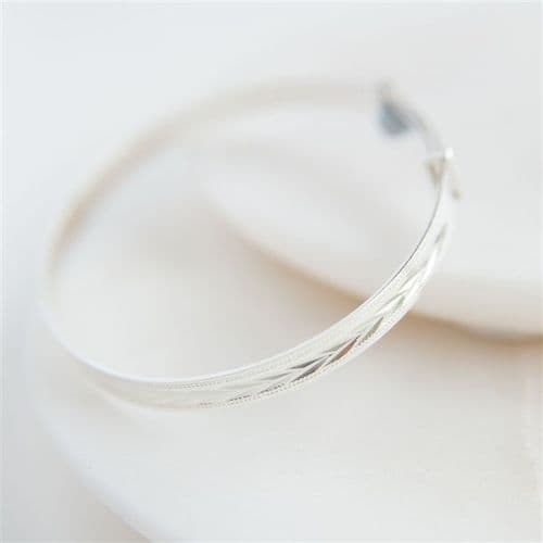 Patterned Solid Silver Christening Bangle