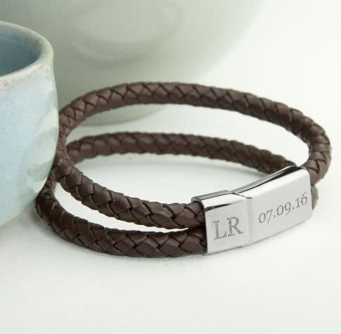 Personalised Men's Dual Leather Woven Bracelet