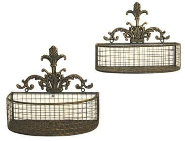 Set Of Black And Gold Metal Wall Planters