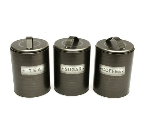 Set Of Metallic Kitchen Canisters