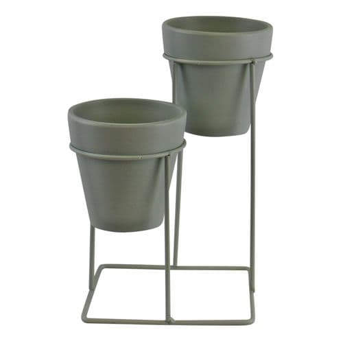 Small Double Soft Sage Green Planters On Stand