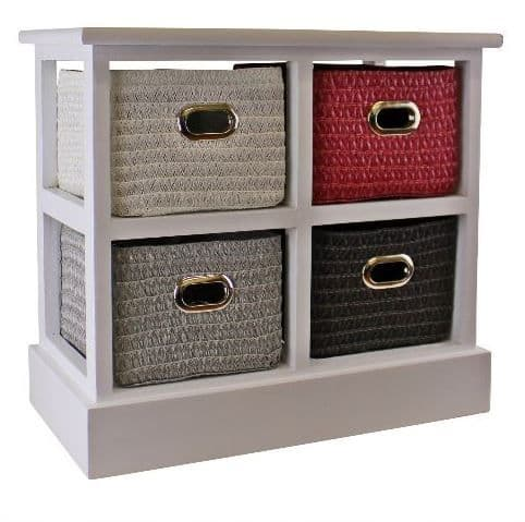 Small Wood Storage Unit With 4 Multicoloured Basket Drawers