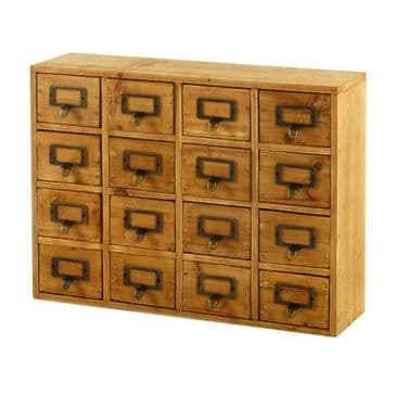 Solid Wood Handcrafted 16 Drawer Desktop Cabinet