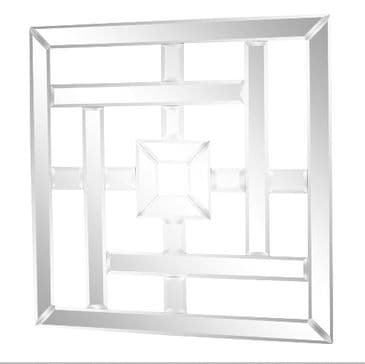 Square Mirrored Wall Decoration With Bevelled Edges 40cm