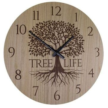 Tree Of Life  Round Wooden  Wall Clock