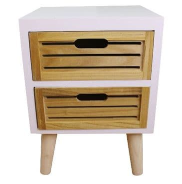 White And Natural Wood 2 Drawer Unit