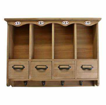 Wooden Wall Hanging Storage Unit With Hooks And Drawers
