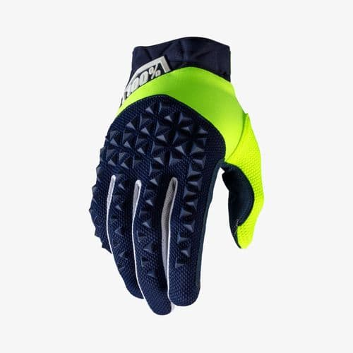 100% Airmatic Glove Navy / Fluo Yellow