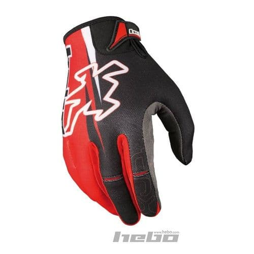 Hebo TR-X Competition Trials Riding Gloves Red/Bkack