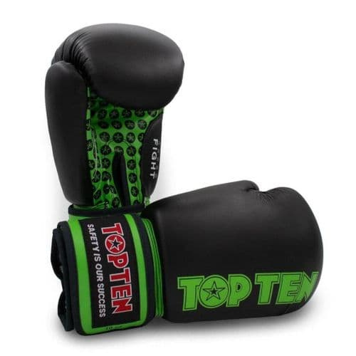TOP TEN Fight Boxing Gloves Black/Green 10oz