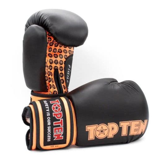 TOP TEN Fight Boxing Gloves Black/Orange 10oz