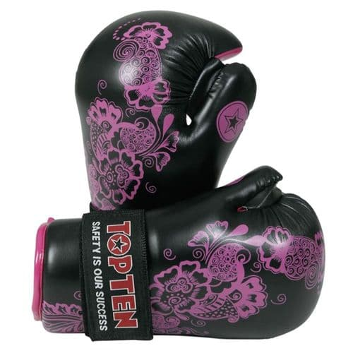 TOP TEN Flowers Pointfighter Gloves Black/Pink