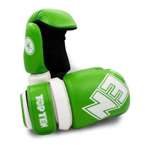 TOP TEN Glossy Block Pointfighter Gloves Green/White